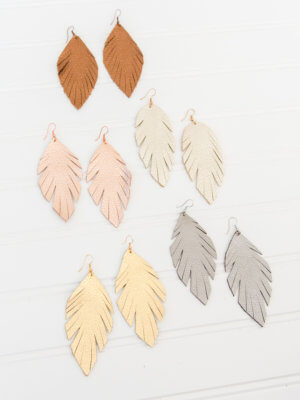 Feathered Leather Earrings for Women