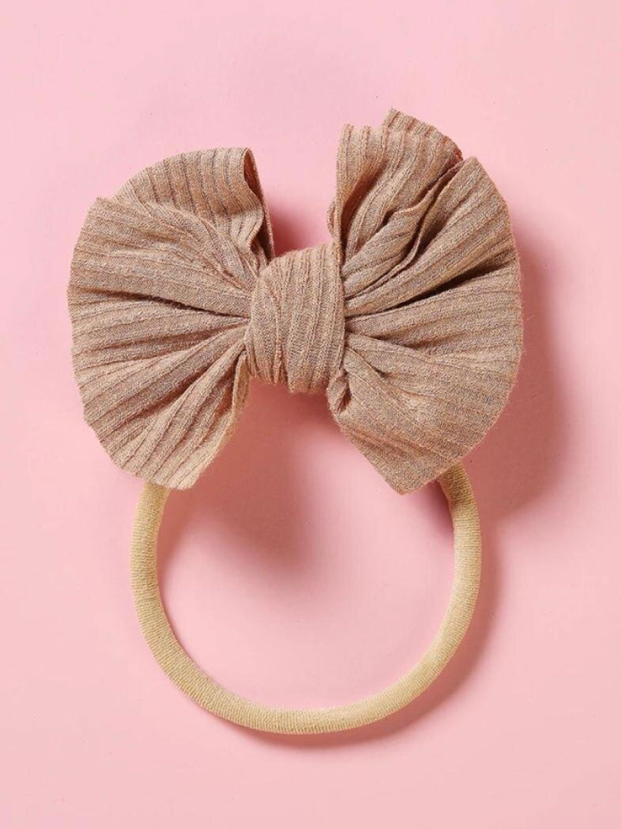 Blush Ribbed Stretch BabyToddler Headband Bow